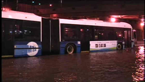 A water main break flooded streets in East Harlem and affected drivers on the Harlem River Drive Sunday night