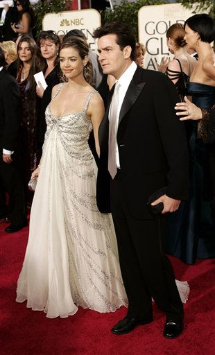 "<div class=""meta image-caption""><div class=""origin-logo origin-image ""><span></span></div><span class=""caption-text"">Charlie Sheen, right, and Denise Richards arrives for the 62nd Annual Golden Globe Awards on Sunday, Jan. 16, 2005, in Beverly Hills, Calif. The couple is expecting their second child. (AP Photo/Kevork Djansezian) (AP Photo/ KEVORK DJANSEZIAN)</span></div>"
