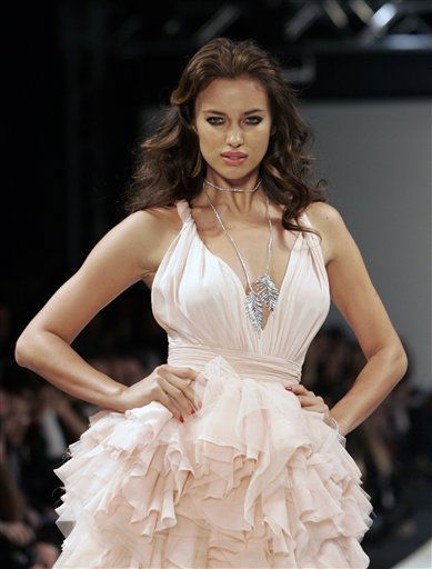 Model Irina Shayk displays a creation by Turkish fashion house Damat&#38;Tween as part of the 2011 Fall&#47;Winter collection presented at the Istanbul Fashion Week, in Istanbul, Turkey, Friday, Feb. 4, 2011. &#40;AP Photo&#47;Ibrahim Usta&#41; <span class=meta>(AP Photo&#47; Ibrahim Usta)</span>