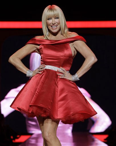"<div class=""meta image-caption""><div class=""origin-logo origin-image ""><span></span></div><span class=""caption-text"">Suzanne Somers walks the runway wearing a dress designed by Ina Soltani during the Heart Truth Red Dress Fall 2011 show in New York, Wednesday, Feb. 9, 2011.  (AP Photo/Kathy Willens) (AP Photo/ Kathy Willens)</span></div>"