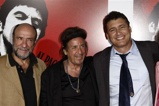Actors Al Pacino, center, F. Murray Abraham, left, and Steven Bauer pose together at &#34;Scarface&#34; Legacy Celebration Event in Los Angeles, Tuesday, Aug. 23, 2011. &#34;Scarface&#34; will be released on Blu-ray September 6, 2011.  &#40;AP Photo&#47;Matt Sayles&#41; <span class=meta>(AP Photo&#47; Matt Sayles)</span>