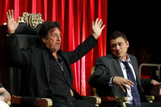 Al Pacino, left, and Steven Bauer speak onstage during the &#34;Scarface&#34; Legacy Celebration Event in Los Angeles, Tuesday, Aug. 23, 2011. &#34;Scarface&#34; will be released on Blu-ray September 6, 2011.  &#40;AP Photo&#47;Matt Sayles&#41; <span class=meta>(AP Photo&#47; Matt Sayles)</span>