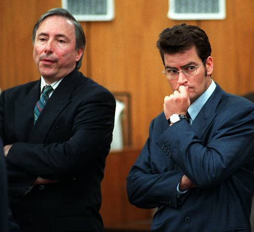 Actor Charlie Sheen, right, and his attorney Donald Re listen to court deliberations after Sheen pleaded no contest to misdemeanor battery against his former girlfriend Brittany Ashland Friday, June 6, 1997, at Malibu Municipal Court in Malibu, Calif. Superior Court Judge Lawrence Mira placed Sheen on 24 months court-supervised probation. &#40;AP Photo&#47;Chris Pizzello&#41; <span class=meta>(AP Photo&#47; CHRIS PIZZELLO)</span>