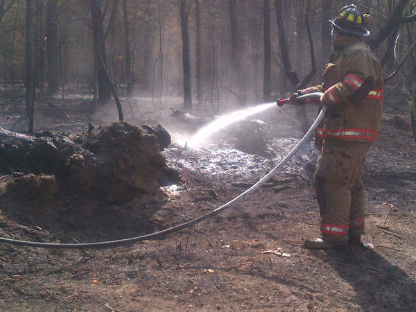 Photos from brush fire in Suffolk County on April 10th