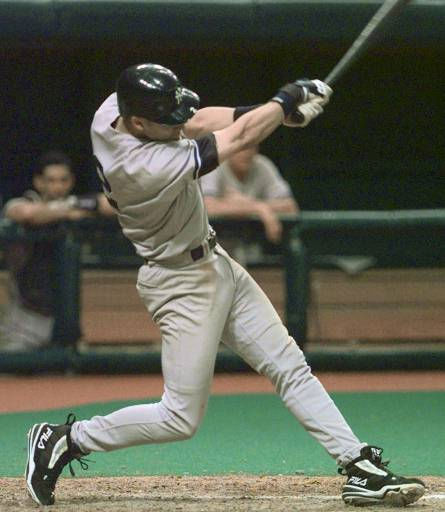 "<div class=""meta ""><span class=""caption-text "">New York Yankees' batter Derek Jeter knocks in three runs with a bases-loaded double off Tampa Bay Devil Rays pitcher Roberto Hernandez during the ninth inning Sunday, July 12, 1998, at Tropicana Field in St. Petersburg, Fla. (AP Photo/Chris O'Meara) (AP Photo/ CHRIS O'MEARA)</span></div>"