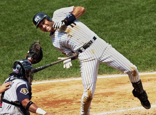 "<div class=""meta ""><span class=""caption-text "">New York Yankees batter Derek Jeter gets hit by a pitch thrown by Anaheim Angels pitcher Ramon Ortiz in the fifth inning, Sunday, Aug. 5, 2001 at Yankee Stadium in New York. Angels catcher Bengie Molina is behind the plate. (AP Photo/Lou Requena) (AP Photo/ LOU REQUENA)</span></div>"