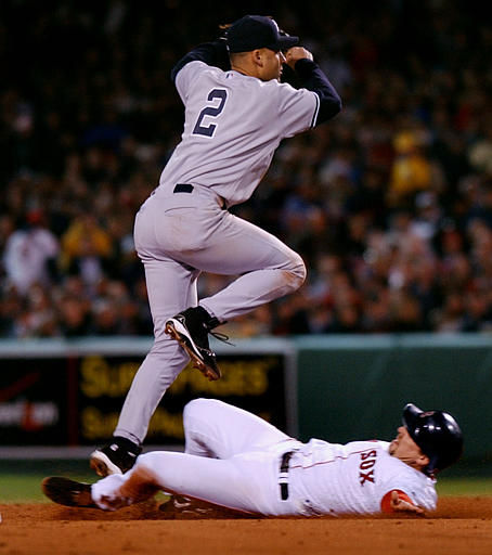"<div class=""meta ""><span class=""caption-text "">New York Yankees shortstop Derek Jeter (2) forces Boston Red Sox base runner Bill Mueller, bottom, and turns a double play on a ball hit David Ortiz ground out in the second inning at Fenway Park in Boston, Friday, April 16, 2004. (AP Photo/Charles Krupa) (AP Photo/ CHARLES KRUPA)</span></div>"