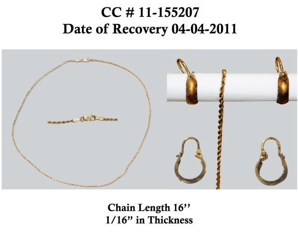 Jewelry found on one of the unidentified victims
