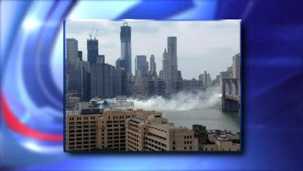 A three-alarm fire breaks out at the crowded South Street Seaport