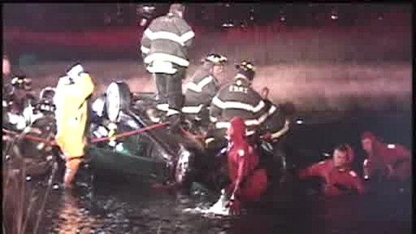 4 people were pulled from the water after their car veered into a marsh