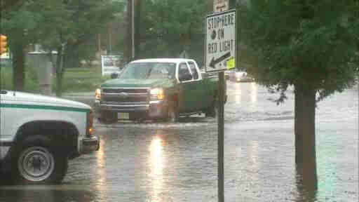 Some New Jersey coastal towns experienced flooding after heavy rains on Tuesday, August 13, 2013.