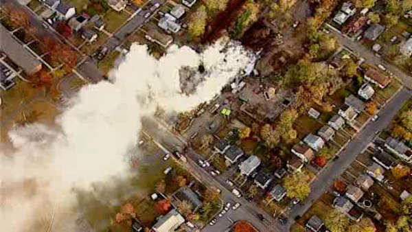 Firefighters in Long Branch, New Jersey are battling a 4-alarm brush fire on Atlantic Avenue.