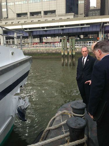 New York City Mayor Michael Bloomberg at the scene of the ferry crash at Pier 11 (Photo from the Mayor's Office)