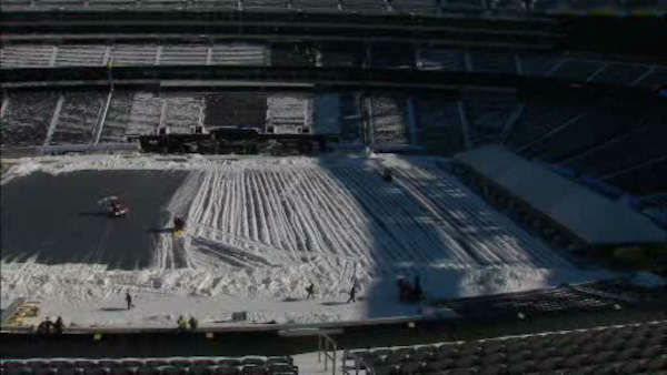 Following Tuesday's snowstorm, workers cleared off MetLife Stadium in preparation for Super Bowl 48 on February 2nd.