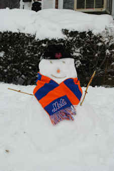 This Mets snowman is ready for Spring Training to begin!