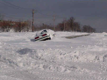 Cars got stranded on Nesconsett Highway after the storm that covered Suffolk County with snow.