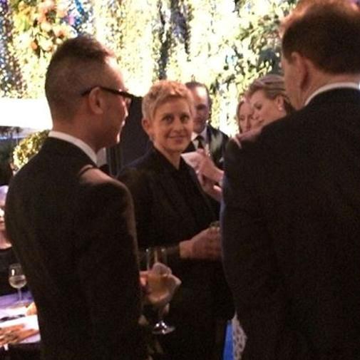 Host Ellen de Generes at the post-Oscar party