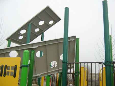 A playground set to open this summer was vandalized in Queens. <span class=meta>(WABC Photo)</span>
