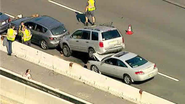 At least a dozen cars were involved in the accident Tuesday afternoon on the Garden State Parkway.