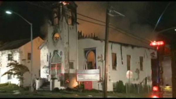 Firefighters battled a fire that tore through a church in Perth Amboy, New Jersey early Monday morning.