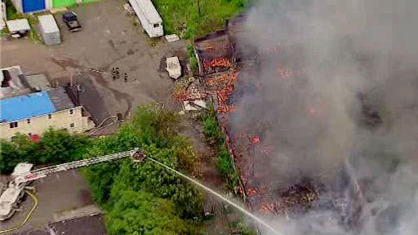 Newscopter7 was over the scene as a large warehouse in Plainfield was burning down in a three alarm fire.