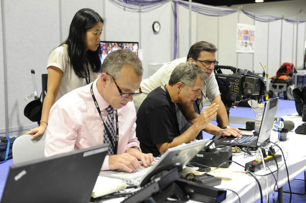 Behind the scenes at the Republican National Convention with Bill Ritter, Dave Evans, producer Seung Suh and photographer Joe Tesauro. &#40;ABC&#47; IDA MAE ASTUTE&#41;  <span class=meta>(ABC Photo&#47; IDA MAE ASTUTE)</span>