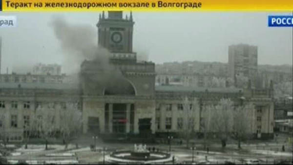 Cameras captured the moment a bomb went off in a Russian railway station Sunday, killing at least 15 people.