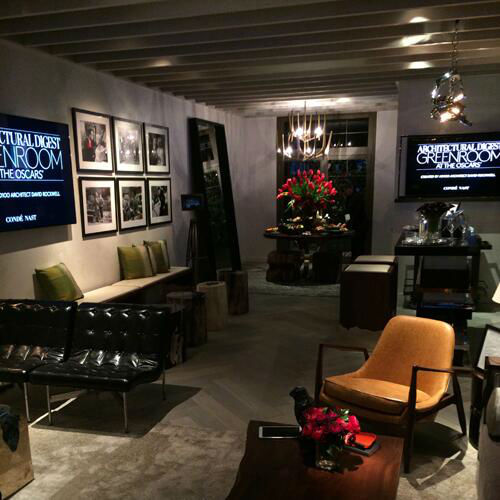 Here is the green room, where the stars relax backstage during the Oscar show.