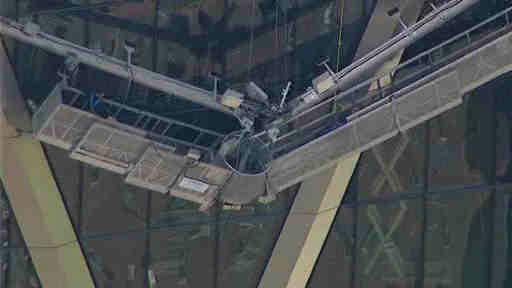 Newscopter 7 was over the scene of the Hearst Tower where two workers were trapped after their scaffolding collapsed.
