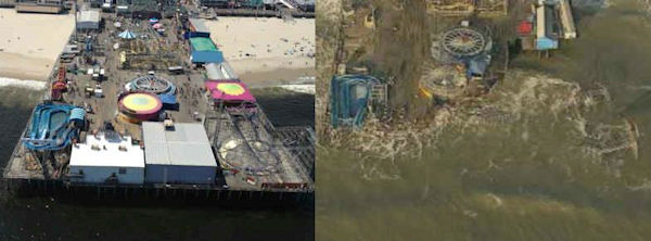 Before and after photos from Seaside Heights, New Jersey.