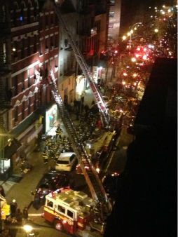 A huge fire burned through a five-story building on Spring Street in SoHo on Thursday evening. <span class=meta>(EOSRedux)</span>