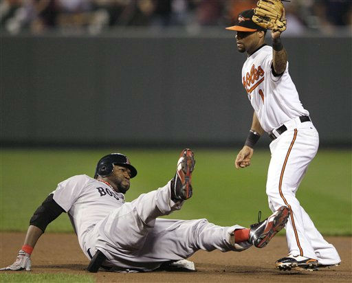 Boston Red Sox&#39;s David Ortiz reacts after being tagged out by Baltimore Orioles second baseman Robert Andino in the seventh inning of a baseball game Wednesday, Sept. 28, 2011, in Baltimore. &#40;AP Photo&#47;Patrick Semansky&#41; <span class=meta>(AP Photo&#47; Patrick Semansky)</span>