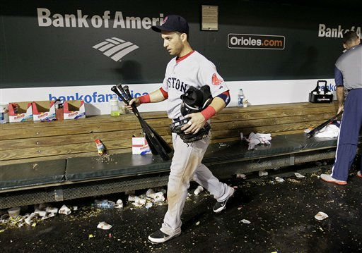 Boston Red Sox shortstop Marco Scutaro leaves the dugout after Boston&#39;s 4-3 loss to the Baltimore Orioles in a baseball game Wednesday, Sept. 28, 2011, in Baltimore.  &#40;AP Photo&#47;Patrick Semansky&#41; <span class=meta>(AP Photo&#47; Patrick Semansky)</span>