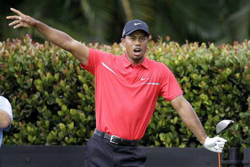"<div class=""meta ""><span class=""caption-text "">Tiger Woods gestures as his ball lands in the rough on the eighth fairway during the third round of the Cadillac Championship golf tournament on Sunday, March 10, 2013, in Doral, Fla. (AP Photo/Wilfredo Lee) (AP Photo/ Wilfredo Lee)</span></div>"