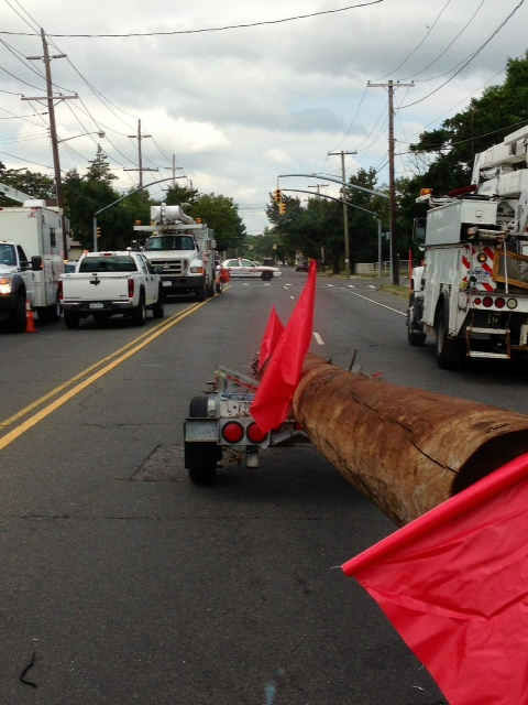 Thousands of customers on Long Island were without power Tuesday after a man driving a stolen MTA truck apparently knocked down blocks of power poles and wires. <span class=meta>(WABC Photo&#47; Kristin Thorne)</span>