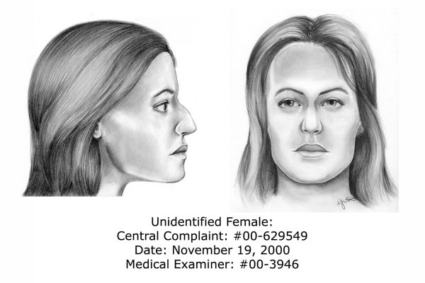 The unidentified remains of this woman were found.