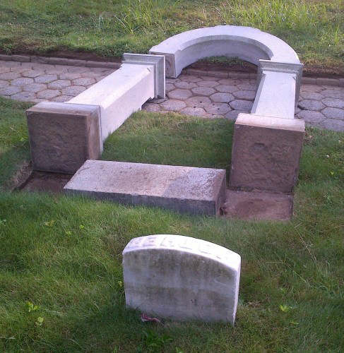 Photos of the damage caused to 43 memorials and monuments at Green-Wood Cemetery in Brooklyn on Tuesday, August 21, 2012. (Photos courtesy http://www.green-wood.com)