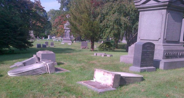 "<div class=""meta ""><span class=""caption-text "">Photos of the damage caused to 43 memorials and monuments at Green-Wood Cemetery in Brooklyn on Tuesday, August 21, 2012. (Photos courtesy http://www.green-wood.com)</span></div>"