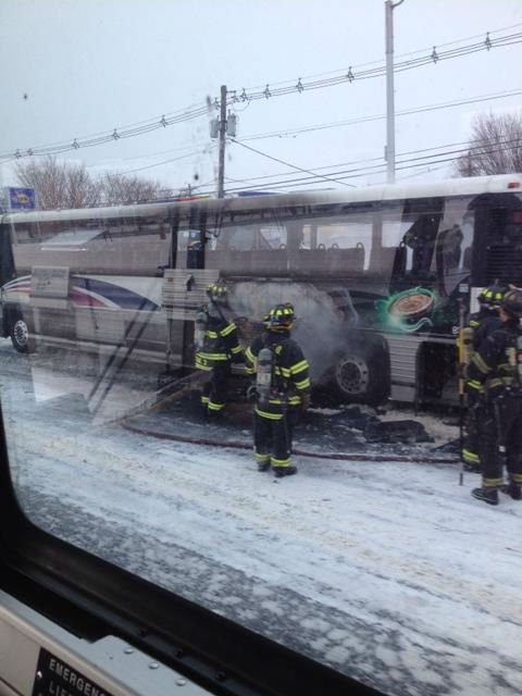 Eyewitness News viewer photo of a bus fire in Secaucus, New Jersey.