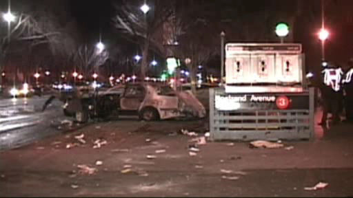 "<div class=""meta ""><span class=""caption-text "">Scene of a four-vehicle accident on Eastern Parkway in Crown Heights where one person was killed early Friday.</span></div>"