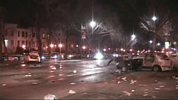 Scene of a four-vehicle accident on Eastern Parkway in Crown Heights where one person was killed early Friday.