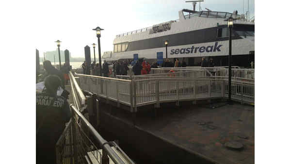 A commuter ferry had a hard landing when it pulled into a Lower Manhattan pier, injuring more than a dozen people. <span class=meta>(Chris Avore)</span>