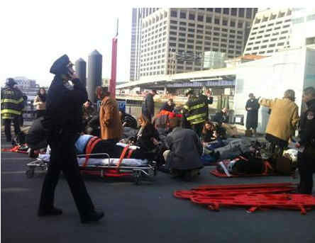 "<div class=""meta ""><span class=""caption-text "">A commuter ferry had a hard landing when it pulled into a Lower Manhattan pier, injuring more than a dozen people (Julie Westfall/Digital First Media.)</span></div>"