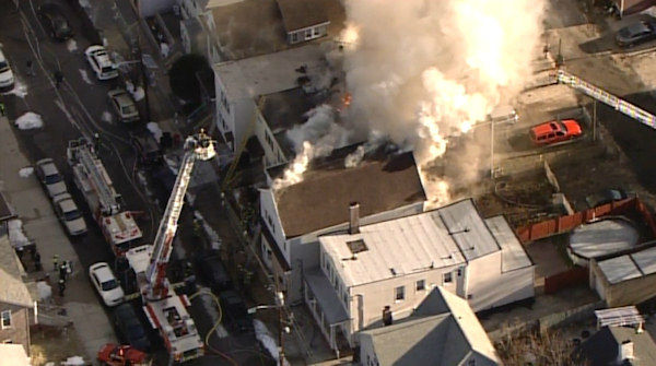 NewsCopter 7 over a multi-alarm fire involving several homes in Bayonne, New Jersey.