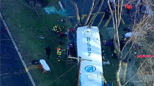 An Academy bus collided with a mini school bus in Old Bridge, New Jersey.