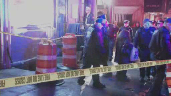 Rescuers saved a woman who fell through a hole in the sidewalk Friday night at East 60th Street and Second Avenue in Manhattan.