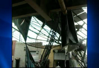Photos of a billboard that fell onto the BQE at Meeker Ave. in Brooklyn on Friday, January 13, 2012.   No reported injuries.