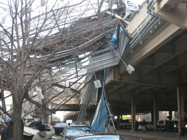 Photos of a billboard that fell onto the BQE at Meeker Ave. in Brooklyn on Friday, January 13, 2012.   No reported injuries.  Photo by Anthony Scoca.