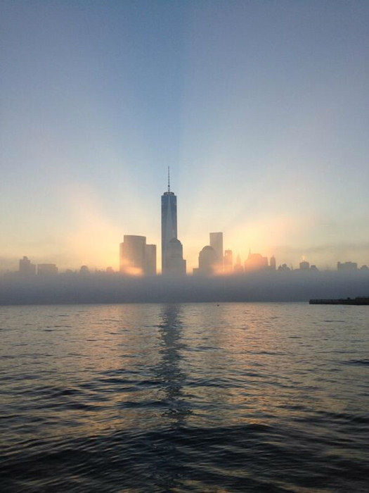 Shot of the freedom tower from Jersey City via Twitter @imran1231