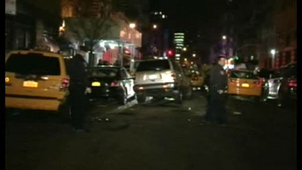 A driver standing outside his cab was killed early Sunday morning in a crash that involved five vehicles on Manhattan's East Side.